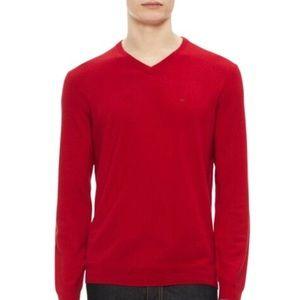 Mens Red Calvin Klein V-Neck Sweater